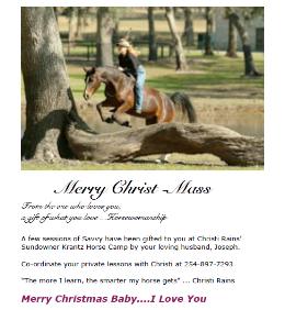 Savvy Horsemanship Christmas Gift - Prepaid Clinics with 4-Star Parelli Senior Instructor Christi Rains
